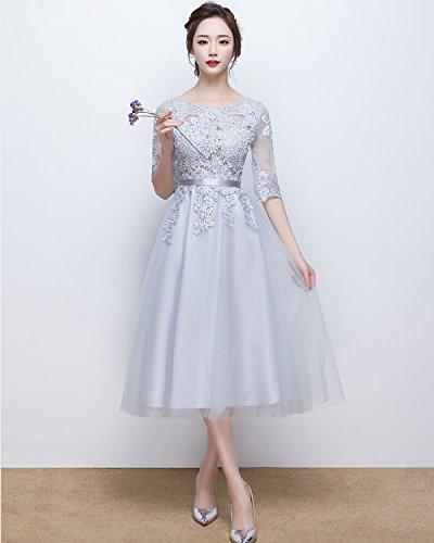 Abendkleider Damen Ärmeln Wadenlang LuckyShe 1 Tüll ED1718 Kurz 2 Spitze mit Blau cocktaikleider apXSq
