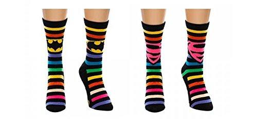 Batman Superman Crew Socks Rainbow