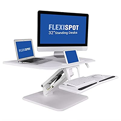 """FlexiSpot 32"""" Standing Desk Converter, Height adjustable Stand Up Desk Computer Riser w/ Quick Release Removable Keyboard Tray, (F3MW-M-WHITE)"""