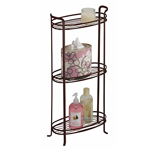 mDesign 3 Tier Vertical Standing Bathroom Shelving Unit, Decorative Metal Storage Organizer Tower Rack with 3 Basket Bins to Hold and Organize Bath Towels, Hand Soap, Toiletries - ()