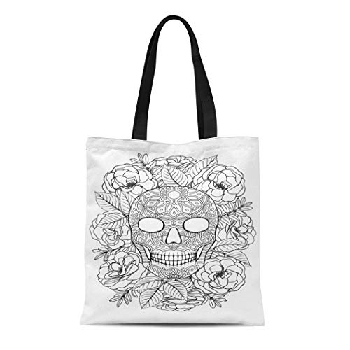 Semtomn Canvas Tote Bag Shoulder Bags Black Adult Sugar Skull A4 Coloring Book Page White Women's Handle Shoulder Tote Shopper Handbag]()