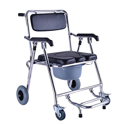 Hmhope Commode Chair With Wheel Universal Tire Brake Side-Flip Pedal Board Aluminum Alloy Folding Lightweight 57.5x60x90cm Elderly Pregnant Women Product (Side Alloy Wheel)