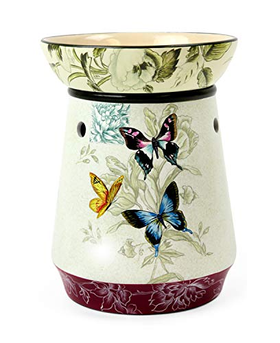 Original Candle Warmer - Electric 2-in-1 Fragrance Air Freshener - 2 Piece Ceramic Melt Tart Wax Cube Melter - Eliminate Odors - Tall Butterfly