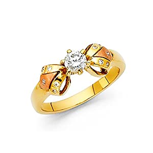 Womens 14K Solid Gold Brilliant White Round Cut Cubic Zirconia Ribbon Ring