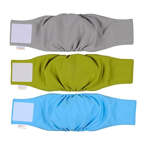 He&Ha pet Male Dog Wraps Washable Dog Belly Bands Set of 3 Dog Diapers Male Reusable (S)
