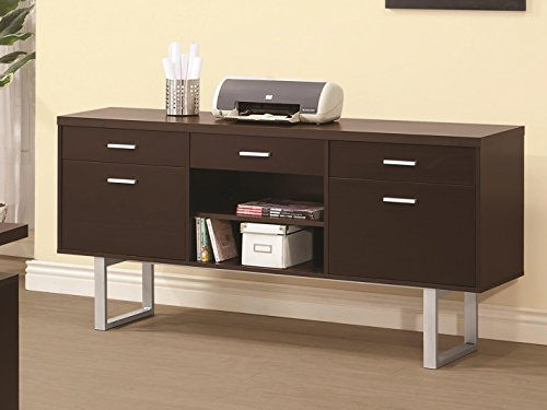 Office Furniture Home Credenza - Glavan Credenza with Metal Sled Legs Cappuccino
