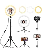 """13 inch Ring Light with Floor Tripod and Desk Stand(Ringlight Kit Totally 74"""" Tall), Adjustable LED Circle Light with Phone Holder, for Photo Selfie, Streaming, Video Recording, Zoom Meeting"""