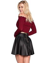 Women's J2 Love Faux Leather Back Gold Zip Mini Skater Skirt