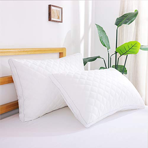 Oubonun Bed Pillows for Sleeping 2 Pack, Down Alternative Pillows for Stomach Side Sleeper, Pillows Queen Size Set of 2