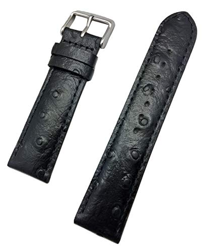 22mm Black Genuine Leather Watch Band | Beautiful Ostrich Grain, Medium Padded Replacement Wrist Strap That Brings New Life to Any Watch (Mens Standard Length)