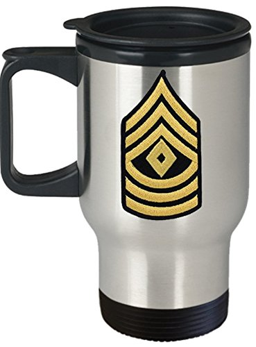 (Army Travel Mug - 14 oz Stainless Steel - First Sergeant (1SG) - Personalized with Custom Text and Rank - Military Gift for US Army Soldier (Rank - First Sergeant, 1SG, E8))