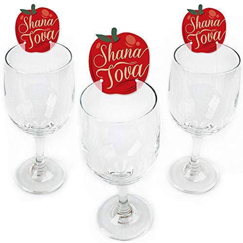 Rosh Hashanah - Shaped Jewish New Year Wine Glass Markers - Set of 24 (Rosh Hashanah Apples)