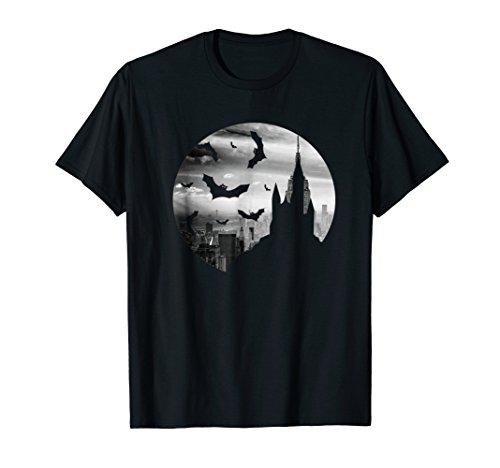 NYC Skyline Vampire Goth Bats Graphic Tee Shirt