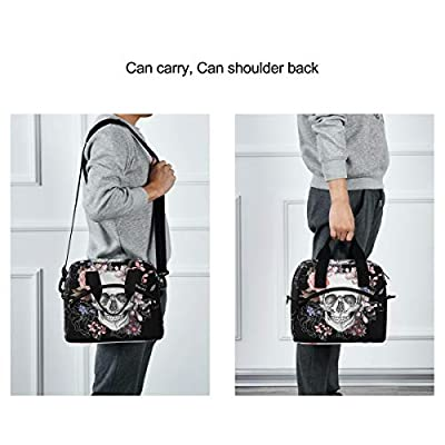 Skull Rose Lunch Bag for Women Men Insulated Lunch Box Tote Bag with Detachable Shoulder Strap & Carry Handle, Reusable Cooler Bag for Work School Picnic: Kitchen & Dining