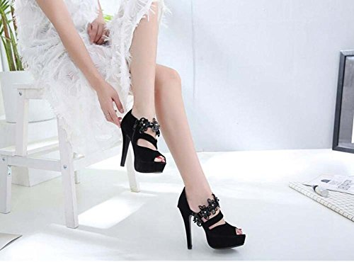 Elegant Black Dress Zipper Pure Women Hollow Onfly Shoes Size Sandals Court OL 12cm Toe Color Party 40 Roma 34 Shoes Shoes Peep Pump Stiletto Eu v6wx8q6PS