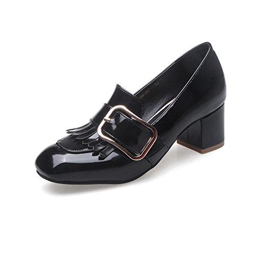 Talon black Carrée Avec 46 Chaussures Épaisseur Taille Wild Tête Haut Grande Simple Femmes FwqxIYgn4P