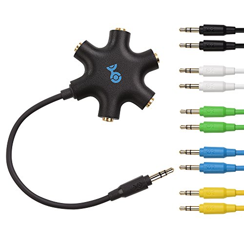 Cable Matters Black 5-Way Headphone Splitter with 5-Pack Aud