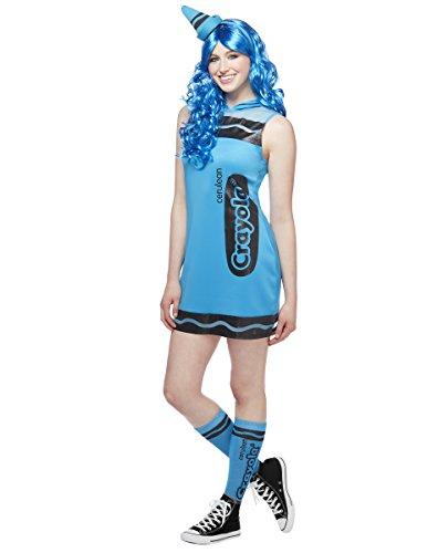 Spirit Halloween Adult Crayon Dress Costume - Crayola, Cerulean Blue,L -