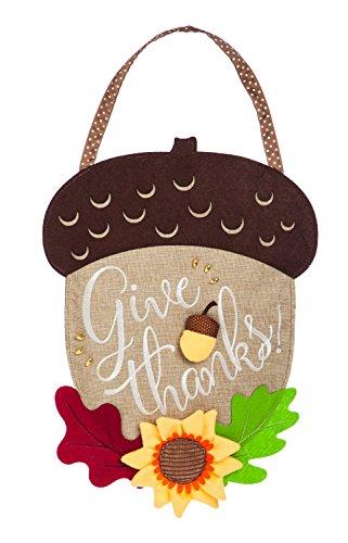 Evergreen Give Thanks Acorn Outdoor Safe Burlap Door (Fall Halloween Decorating Ideas)