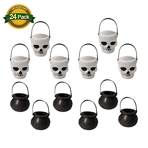 WAQIAGO 24 Pack Candy Jar Portable Mini Black Witch's Cauldron and White Skull Halloween Plastic Candy Holders Tank Black Witch's - Cauldron Witch White