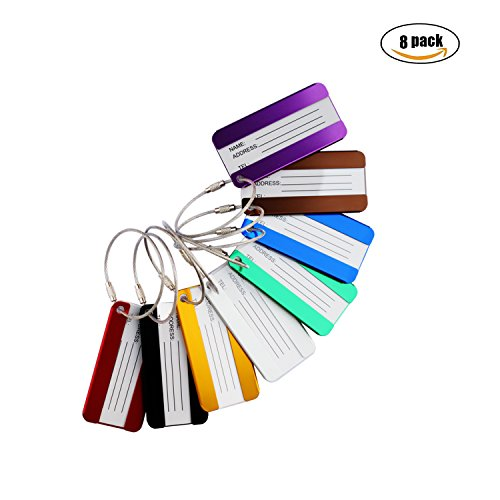 Aluminium Metal Travel Luggage Tags Suitcase Card Holder Baggage Name Address ID Bag Label with Key Ring 8 Pack Bag Key Tag