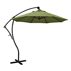 California Umbrella 9' Round Aluminum Cantilever Umbrella, Crank Lift, 360 Rotation, Bronze Pole, Palm Fabric