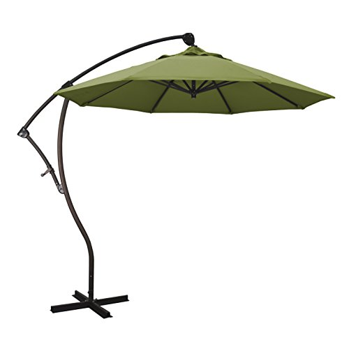 California Umbrella 9' Round Aluminum Cantilever Umbrella, Crank Lift, 360 Rotation, Bronze Pole, Palm Fabric