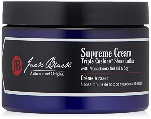 Jack Black - Supreme Cream Triple Cushion Shave Lather - PureScience Formula, Macadamia Nut Oil and Soy, Luxurious Shaving Cream, Hydrates Skin, Reduced Razor Burn- 9.5 oz.