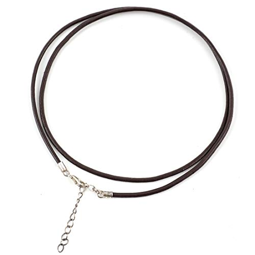1 pc Brown Leather Necklace 20 inch with Sterling Silver Lobster Clasp & Chain Extender for Jewelry Craft Making SS219