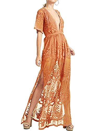 - BBYES Women Deep V Neck Short Sleeve Maxi Long Lace Romper Dresses Evening Party Cocktail Dress Orange XL