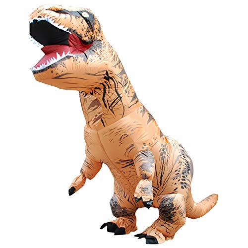 Jurassic World Inflatable T-Rex Costume, Halloween Dinosaur Cosplay, Spoof Prank Play, Adult and Child Size, (Adult, Brown)]()