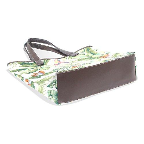 COOSUN Womens Jungle Canopy Frühlingsvögel Pu Leder Große Einkaufstasche Griff Schultertasche