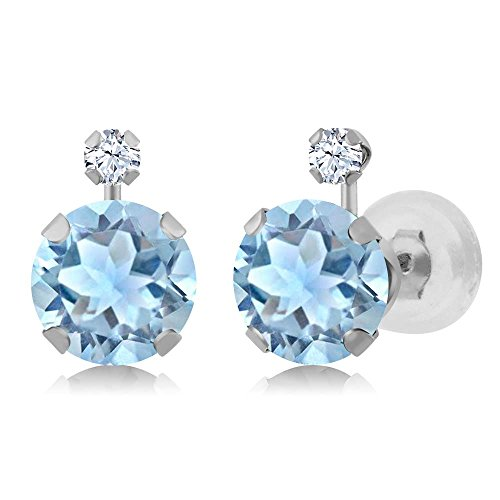 1.58 Ct Round Sky Blue Aquamarine White Created Sapphire 14K White Gold Earrings (Earrings Fancy White Sapphire)