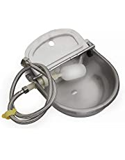 304 Stainless Steel Automatic Waterer Bowl for Dog Horse Goat Pig, with 1M Pipe(one end 3/4'') and Float Water Valve,Animals Stainless Farm Livestock Tool