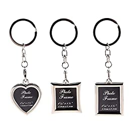 Mini Photo Keychain Set – 3PCs Small Blank Picture Frame Stainless Steel Personalized Key Rings Love Souvenir Pictures…
