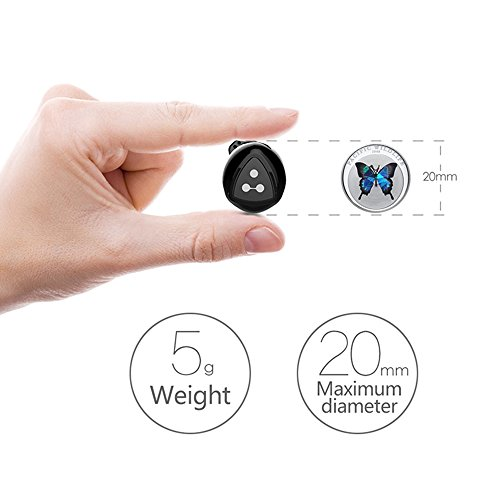 Truly Wireless Earbuds, Syllable D900MINI Wireless Bluetooth Headphones Stereo In-Ear Sport Noise Cancelling Sweatproof Earphones with Mic for iPhone iPad and Other Smartphones (Black)