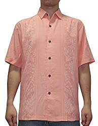 Tommy Bahama Mens Light Weight Silk, Summer Camp Shirt S Salmon