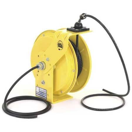 KH Industries RTB Series ReelTuff Industrial Grade Retractable Power Cord Reel with Black Cable, 16/3 SOOW Cable, 10 Amp, 25' Length, Yellow Powder Coat Finish