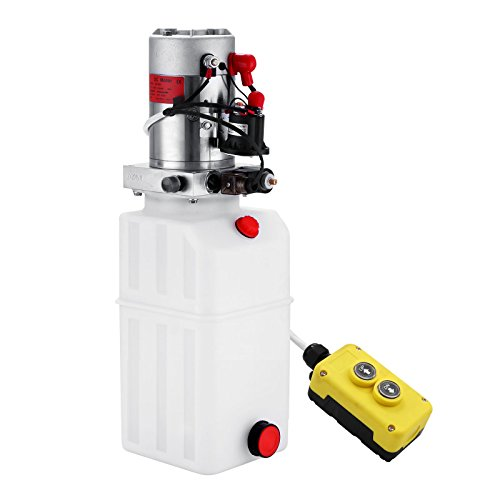 VEVOR Hydraulic Pump 8 Quart Single Acting Hydraulic Power Unit 12V DC Plastic Tank Hydraulic Pump Unit for Dump Trailer Car Lifting (8 Quart Plastic Single Acting) - Single Acting Pump