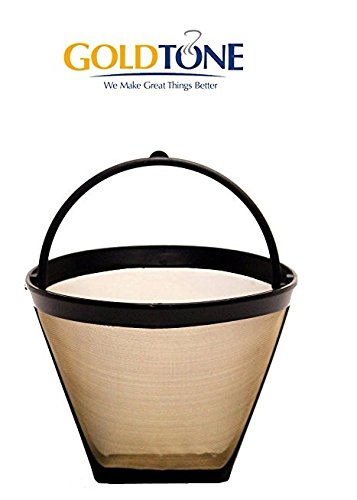 GoldTone Reusable 4 Cup #2 Cone Coffee Filter - #2 Cone Permanent Coffee Filter - Replacment #2 Cone Coffee Filter fits Cuisinart, Krups, Most other #2 Cone Coffee Makers - Permanent Cone