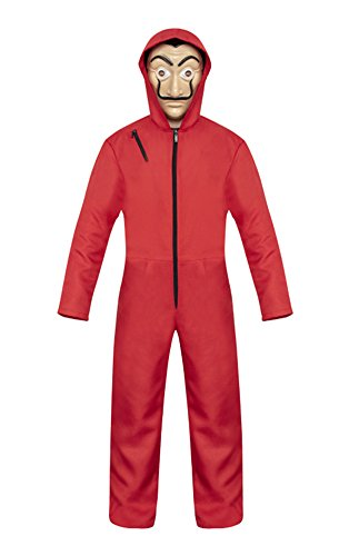 COSKING Dali Costume for La Casa De Papel Coverall Jumpsuits, Unisex Adult Kids Halloween Cosplay Outfit Red (Small, Kids)