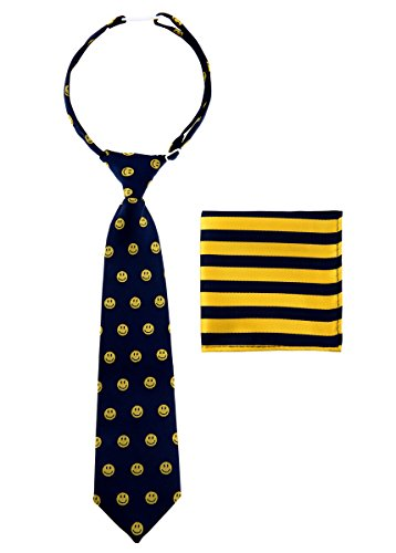 Canacana Smiley Emoji Woven Microfiber Pre-tied Boy's Tie with Stripes Pocket Square Gift Box Set - Navy Blue and Yellow - 8 - 10 years, Christmas gift