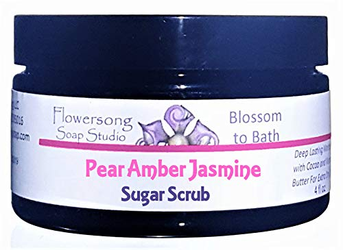 (Pear Amber Jasmine Sugar Scrub - Soften, Moisturize and Exfoliate in One Step)