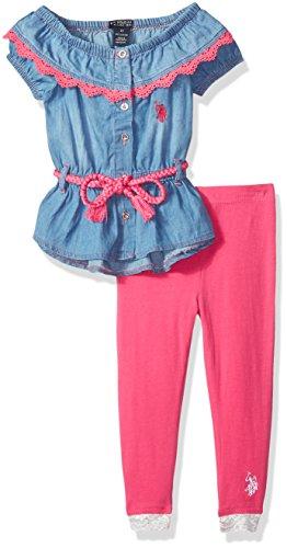(U.S. Polo Assn. Girls' Little Fashion Top Legging Set, Braided Rope Belt Multi, 6X)