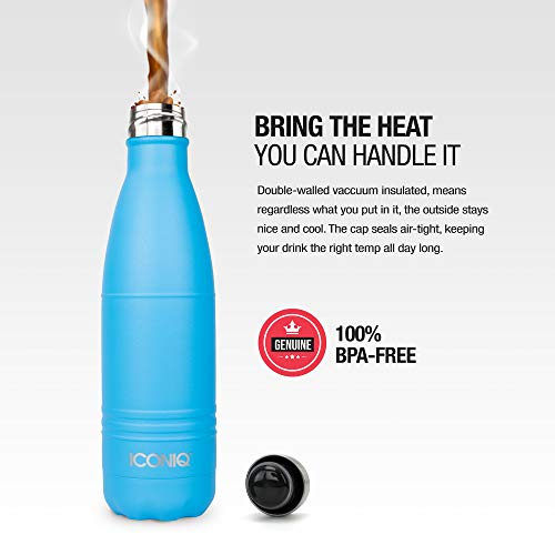 ICONIQ Stainless Steel Vacuum Insulated Water Bottle with Pop Up Straw Cap, 17 Ounce