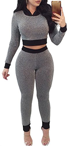 FANCYINN Women Sexy 2pcs Sets Outfit Long Sleeve Crop Top and High Waist Pants Casual Style S