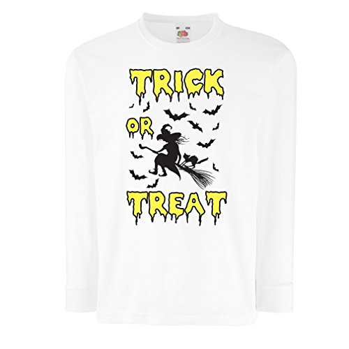 T-shirt for kids Trick or Treat - Halloween Witch - Party outfites - Scary costume (12-13 years White Multi Color) (13 Nights Of Halloween Poem)