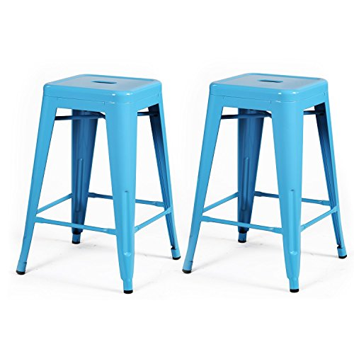 ELEGAN 24-inch High Tolix Backless Distressed Metal Indoor Outdoor Counter Stool Barstools Chair, Set of 2