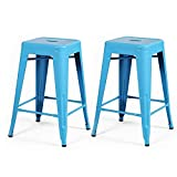 Luxury Bar Stools ELEGAN 24-inch High Tolix Backless Distressed Metal Indoor Outdoor Counter Stool Barstools Chair, Set of 2