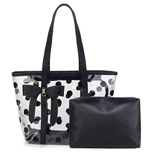 - Women's Clear Tote Bags Shoulder Handbag Beach bag Shopping Bag (Black)